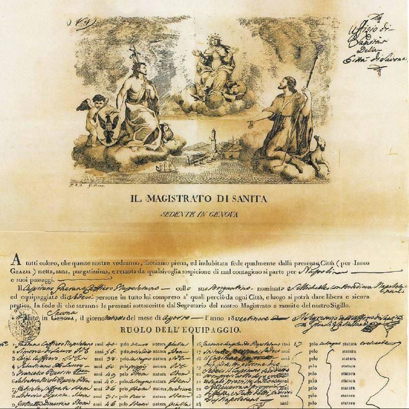 «Patente di sanità» rilasciata il 28 agosto 1829 al capitano del brigantino San Michele diretto a Napoli