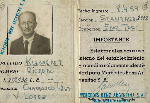 Documento della Mercedes Benz argentina di Ricardo Klement (Eichmann)