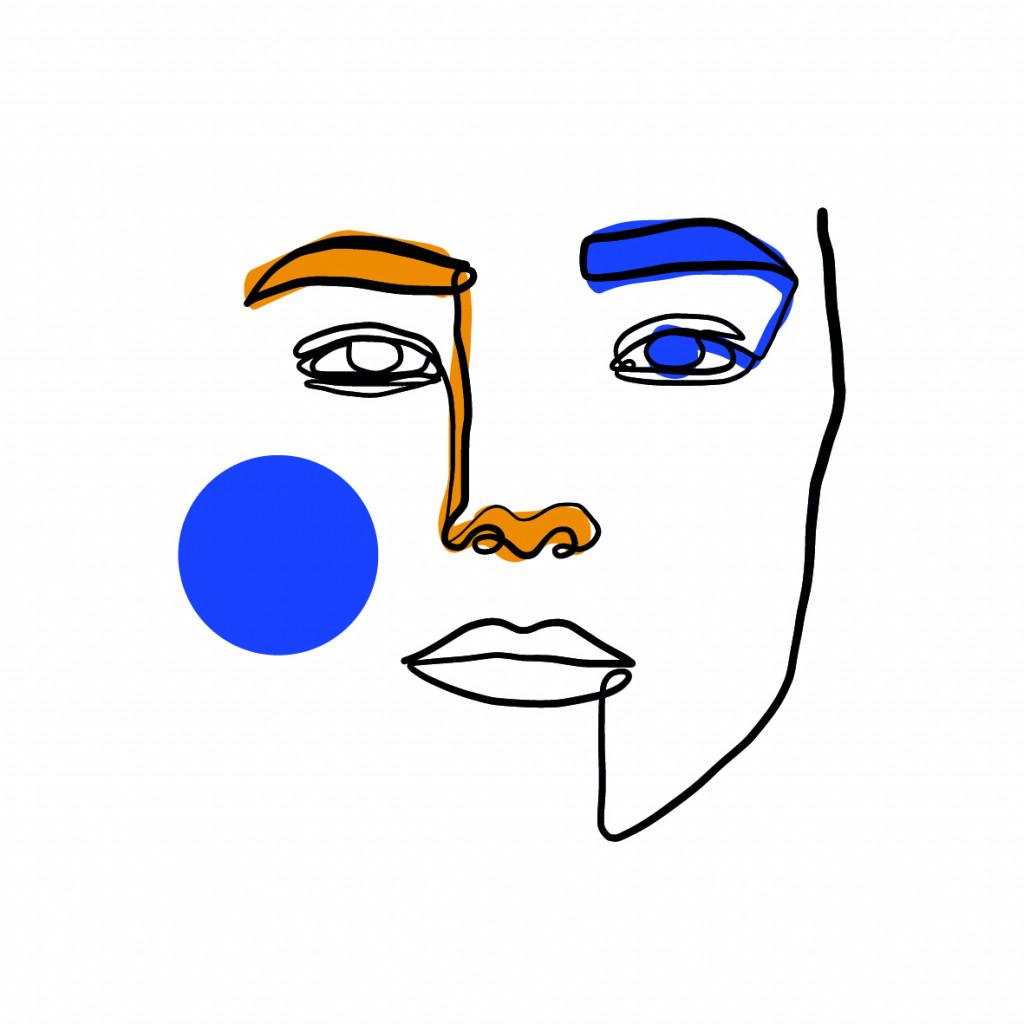 Ritratto di donna minimalista, grafica shutterstock inc.