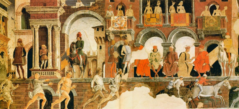 Francesco del Cossa, Aprile, part., 1468-'70, Ferrara, Palazzo Schifanoia