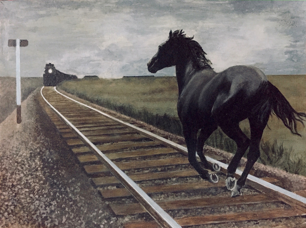 Alex Colville, «Dark Horse and Oncoming Train», 1954