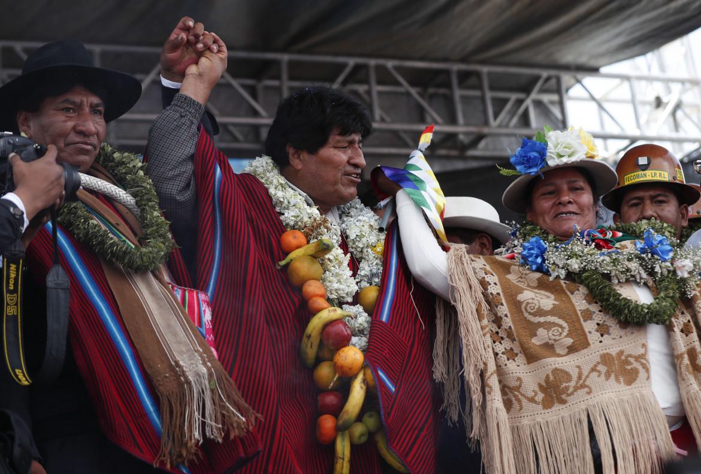 3 dicembre 2020, Evo Morales partecipa a una manifestazione a El Alto