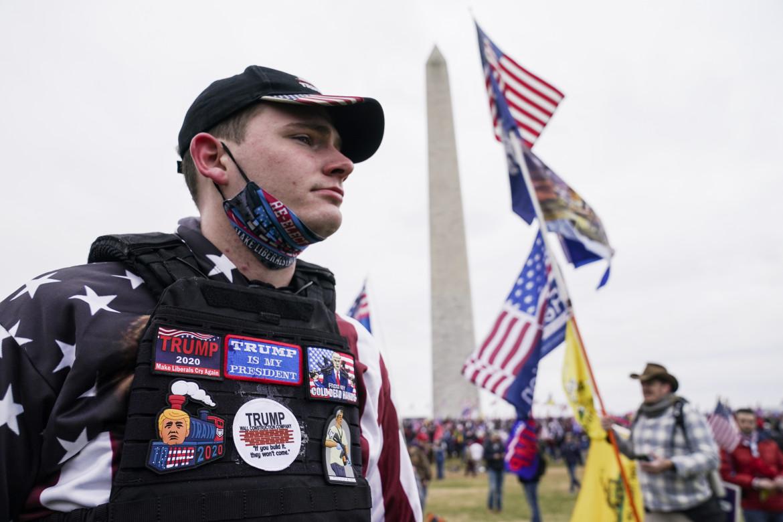 Sostenitore pro-Trump durante l'assalto a Capitol Hill