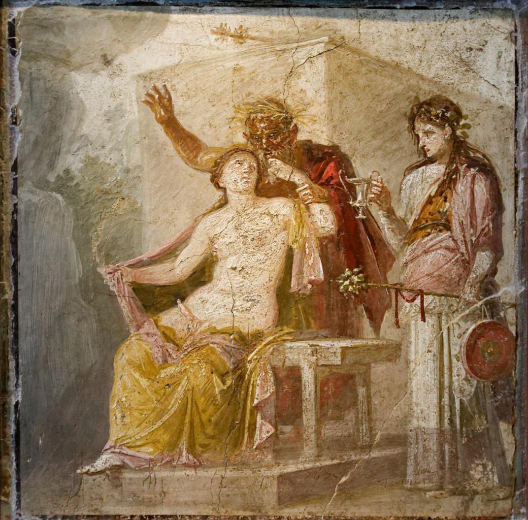 Pompei, affresco  con scena erotica,  I sec. d.C., Napoli, Museo Archeologico Nazionale, «Gabinetto Segreto», foto di Marie-Lane Nguyen