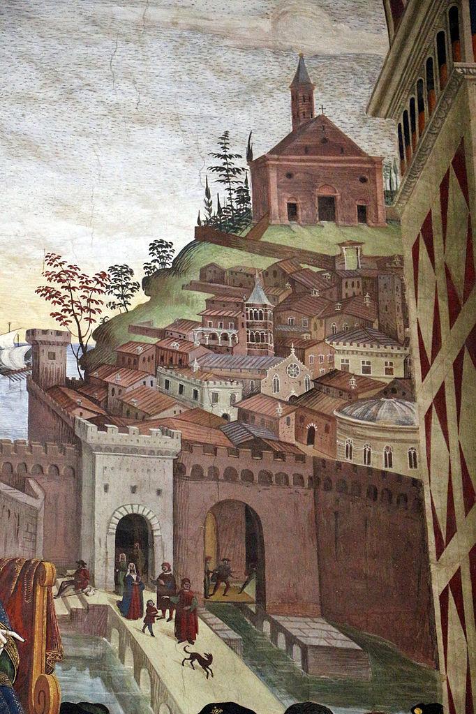 Pinturicchio, Liberia Piccolomini, 1502-07 circa, Pio II giunge ad Ancona per dare inizio alla crociata