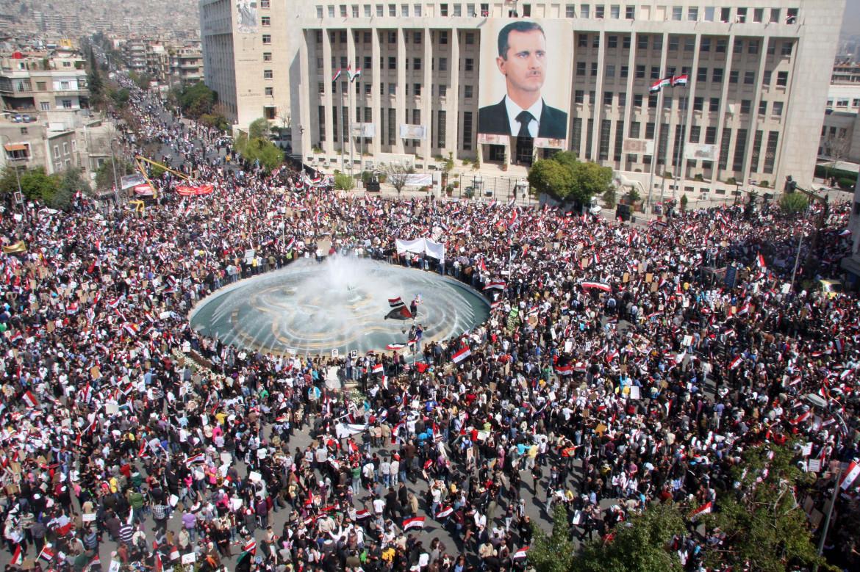 Manifestazione a Damasco a fine marzo 2011