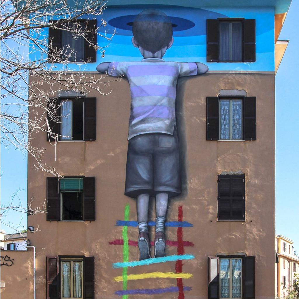 Street art nel quartiere romano di Tor Marancia, un'opera di Seth