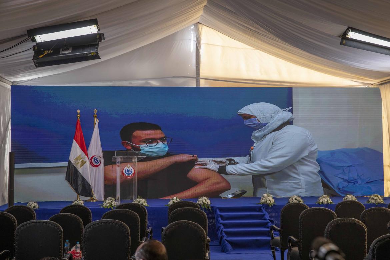 Il primo medico vaccinato in Egitto, nell'ospedale Abou Khalifa di Ismalia