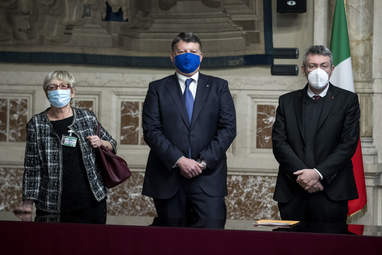 Maurizio Landini, Pierpaolo Bombardieri e Annamaria Furlan alle consultazioni da Draghi
