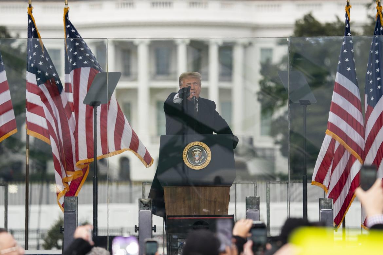 6 gennaio 2021, Donald Trump durante il comizio a Washington a cui seguirà l'assalto a Capitol Hill