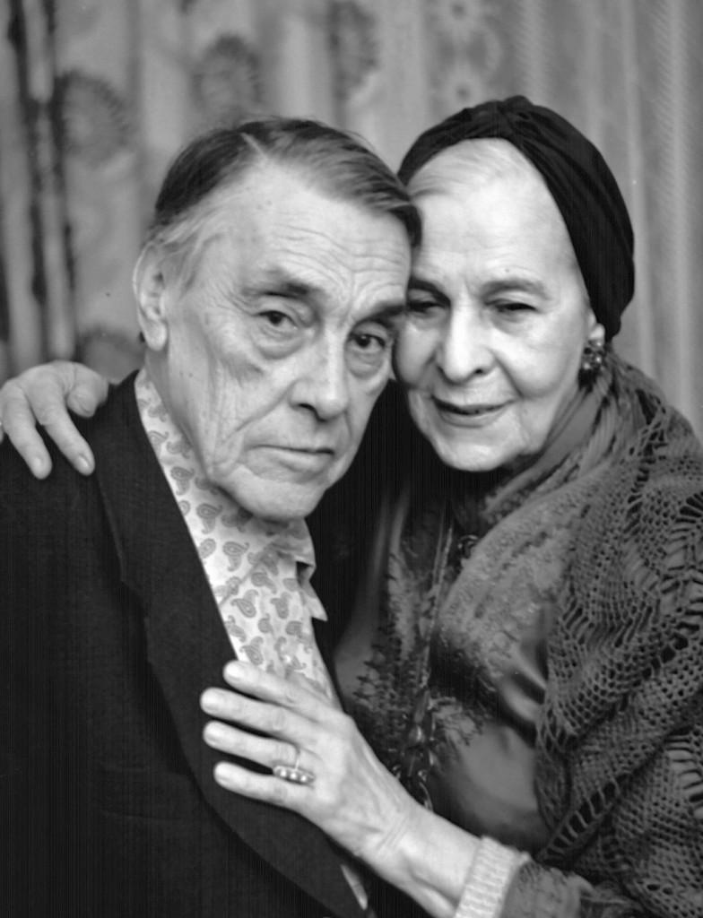 Arsenij Tarkovskij con sua moglie Tatyana, 1980 ca.
