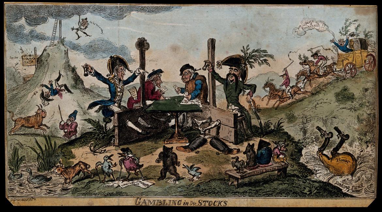 «Lord Cochrane and Captain de Beranger, collaborators in a stock exchange fraud», George Cruikshank, 1814