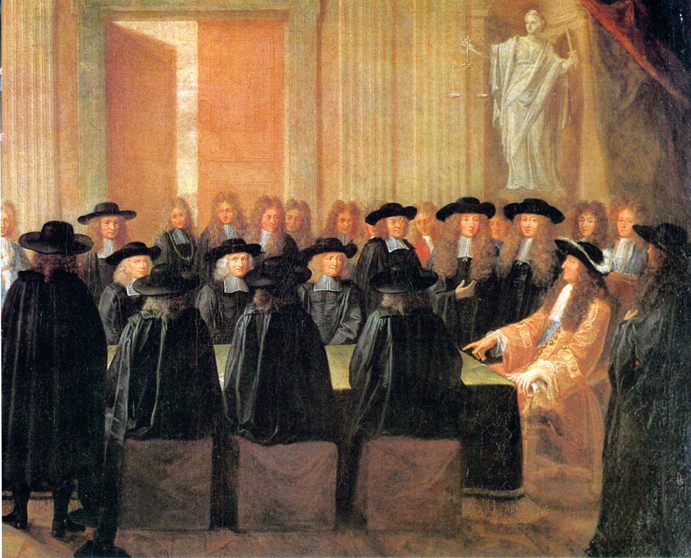 Ritratto di Luigi XIV e dei suoi ministri in un'opera del sedicesimo secolo