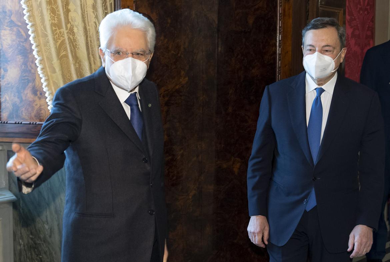 Appuntamento al Quirinale: il presidente della Repubblica Mattarella con il presidente del Consiglio incaricato Mario Draghi