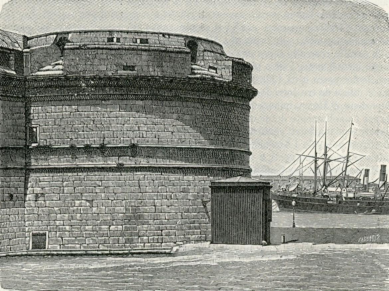 Il forte  di Michelangelo  a Civitavecchia, xilografia di Giuseppe Barberis, 1894