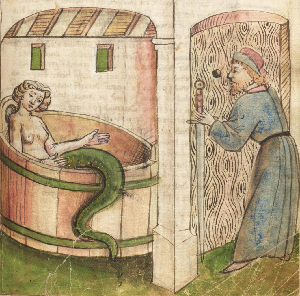 Melusine fa il bagno, da Melusine di Thüring  von Ringoltingen, 1468, Norimberga, Germanisches Nationalmuseum