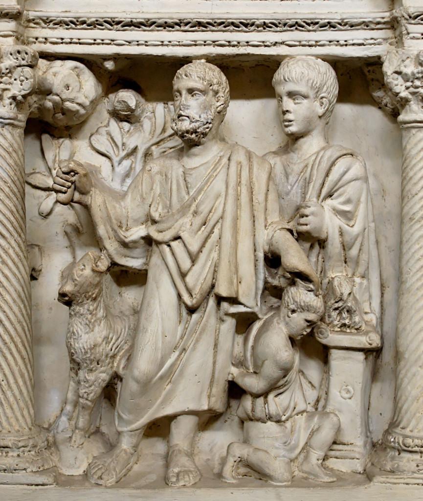 Particolare del Sacrificio di Isacco, dal sarcofago  di Giunio Basso, IV sec., Città del Vaticano, Museo del Tesoro  di San Pietro