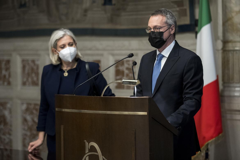 Il presidente di Confindustria Carlo Bonomi durante le consultazioni per il governo Draghi