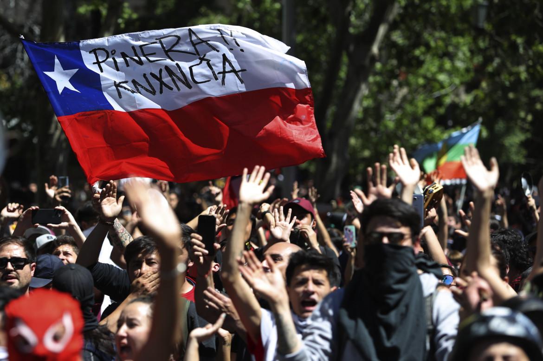 La manifestazione antigovernativa  del 21 ottobre 2020 a Santiago, quella  a cui ha partecipato  Damián