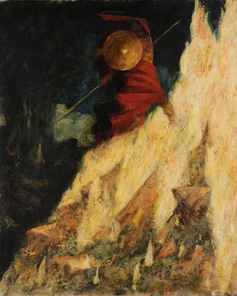 Mariano Fortuny  y Mandrazo,  Ciclo wagneriano, 1896 (La Valkiria),  Wotan colpisce la roccia