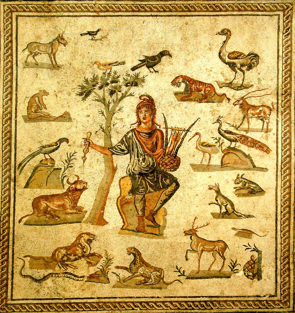 Orfeo circondato dagli animali incantati dalla musica della sua lira