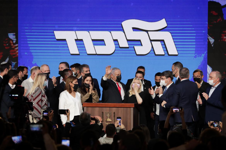 Benyamin Netanyahu al quartier generale del Likud a Gerusalemme dopo la chiusura dei seggi