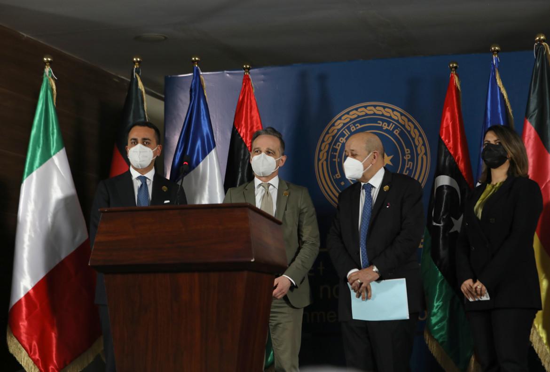 I ministri Di Maio, Maas e Le Drian in Libia