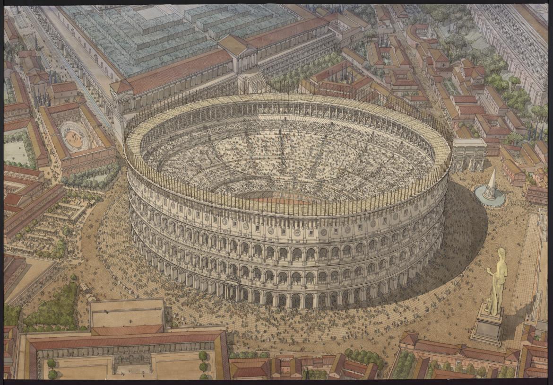 Restituzione del Colosseo a inchiostro di china ed aquerello ad opera di Jean-Claude Golvin