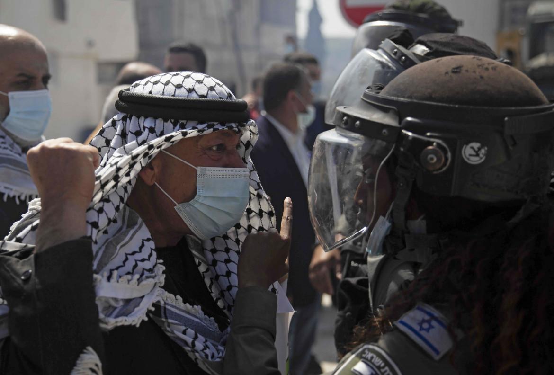 La protesta ieri a Sebastia, vicino Nablus