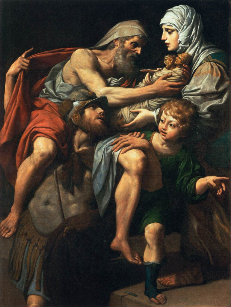 Lionello Spada, Enea e Anchise in fuga da Troia in fiamme, XVII sec., Parigi, Louvre