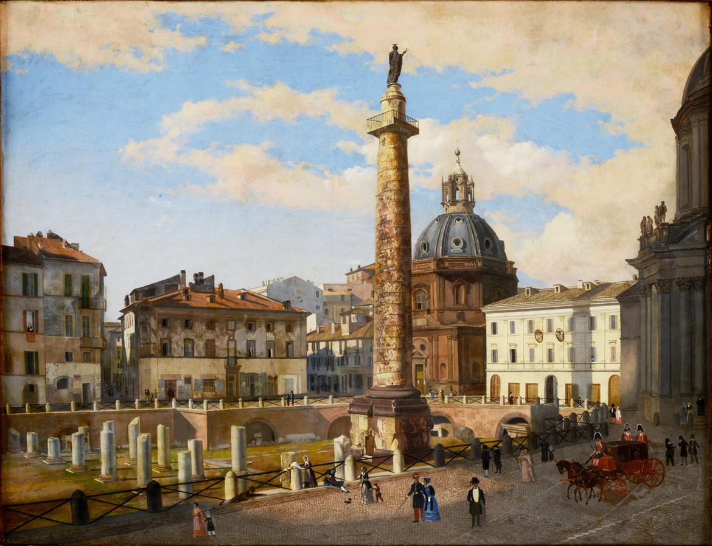 Charles Lock Eastlake, Il Foro di Traiano dopo gli scavi dei Francesi, 1820-1830 ca., Roma, Museo di Roma, foto Alfredo Valeriani