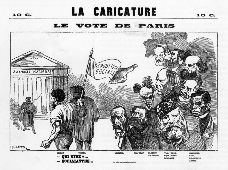 Una caricatura di Pilotell tratta dal libro «Avant pendant et après la Commune», Editions Livre-Club Diderot, 1969