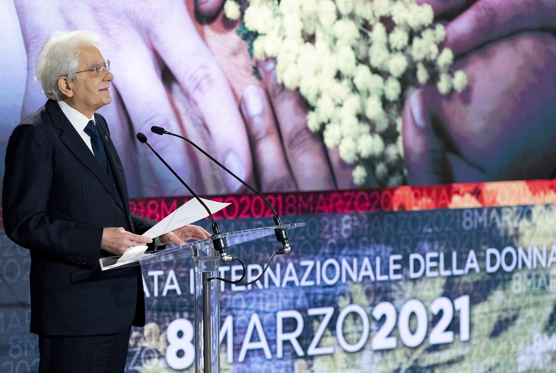 Sergio Mattarella, 8 marzo 2021 (foto LaPresse)