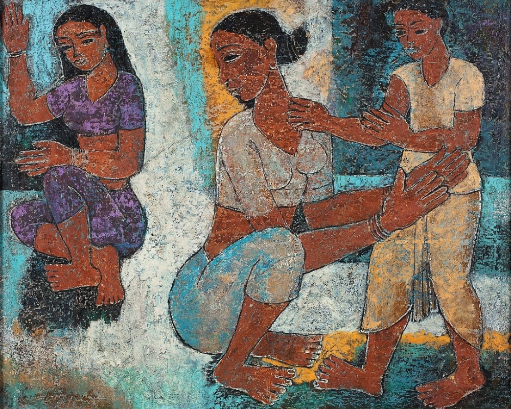 Mother and Children, by P.T. Reddy; texture white and oil on plyboard,1958, Delhi Art Gallery