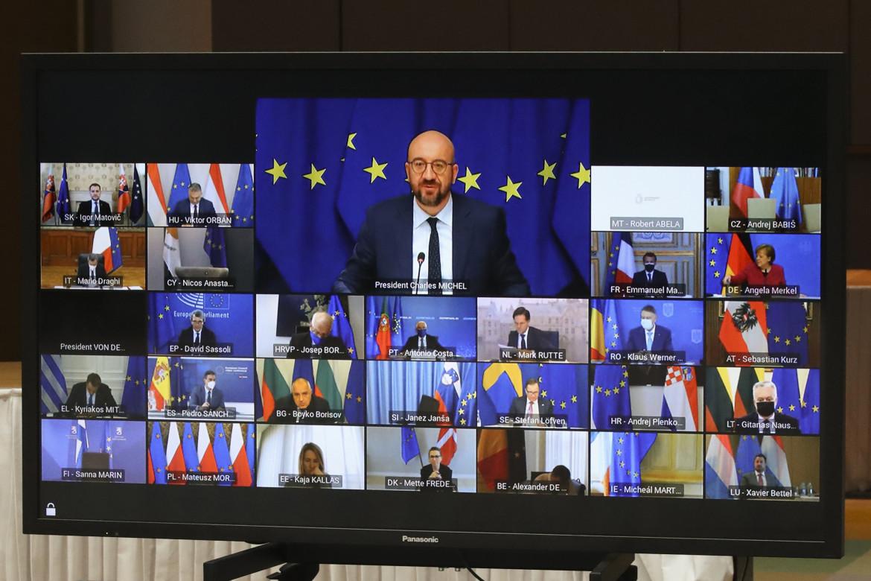 Il presidente Charles Michel prende la parola al Consiglio europeo online