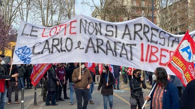 Una manifestazione del Si Cobas a Piacenza per la liberazione dei sindacalisti arrestati