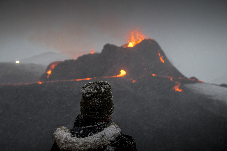 Vulcano Fagradalsfjall, eruzione a Geldingadalur, vicino alla capitale islandese Reykjavik