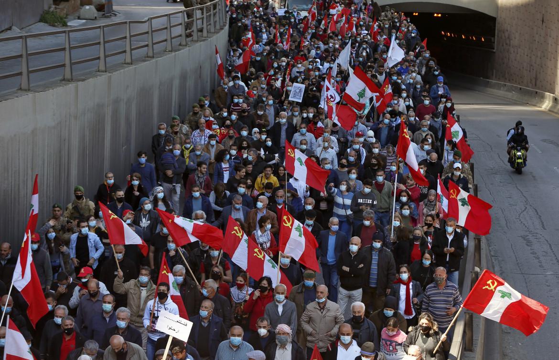 Manifestazione contro il governo del Partito comunista libanese