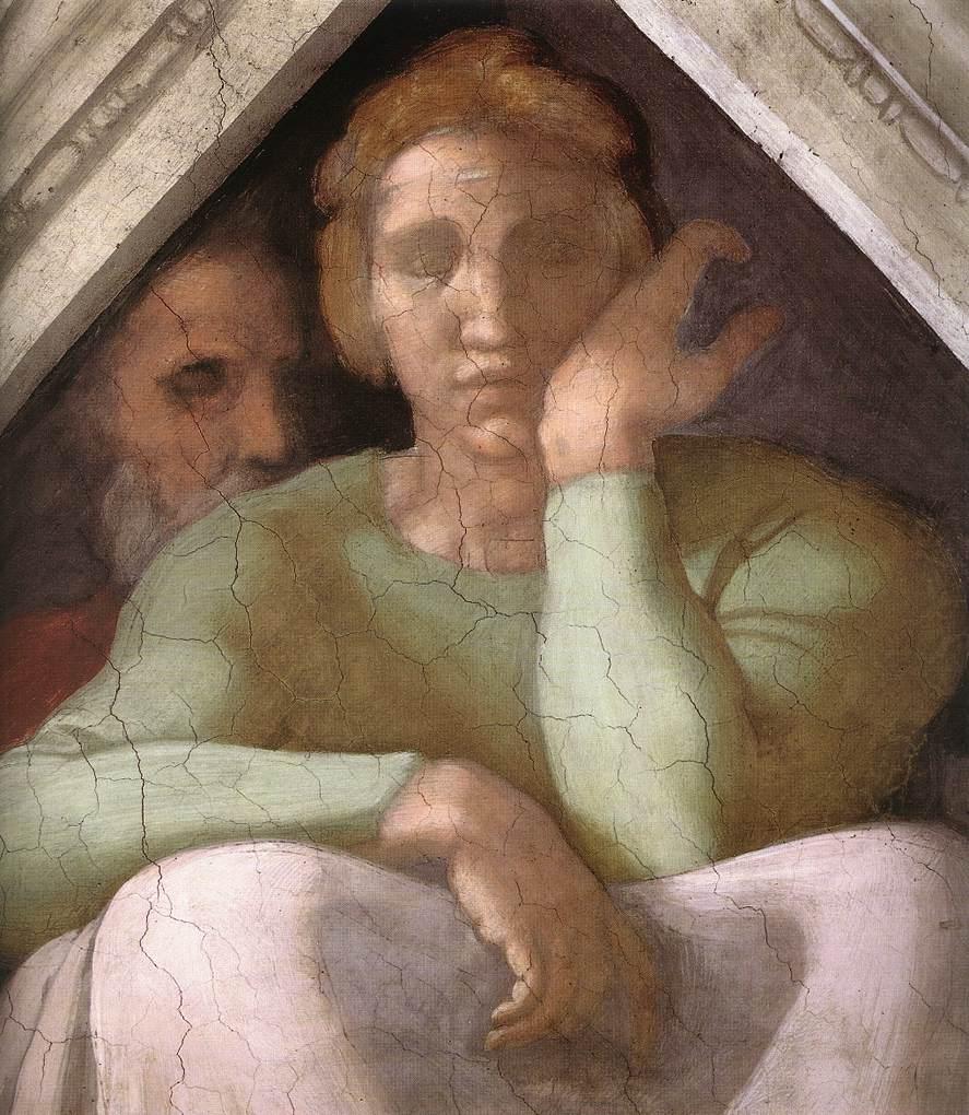 Michelangelo Buonarroti, Cappella Sistina, Volta, Antenati di Cristo, vela sopra Iesse, Davide e Salomone, particolare