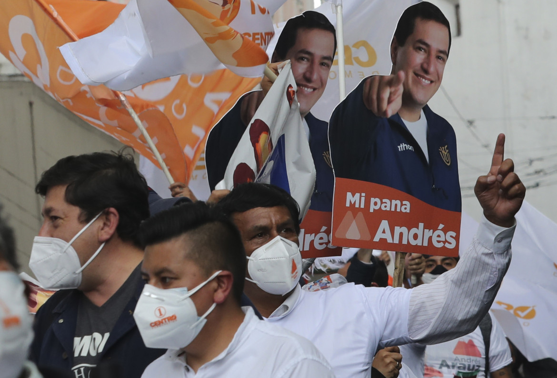 Supporter di Andrés Arauz (Unione per la speranza) a Quito