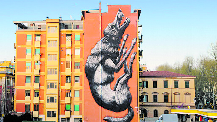 Roa, «Jumping wolf», 2014