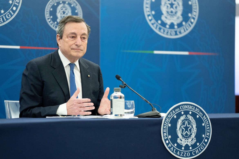 Il presidente del Consiglio Mario Draghi in conferenza stampa