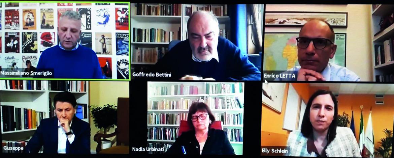L'incontro via Zoom con Enrico Letta e Giuseppe Conte