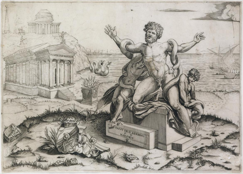 Marco Dente, Morte di Laocoonte, incisione su rame, ca. 1510