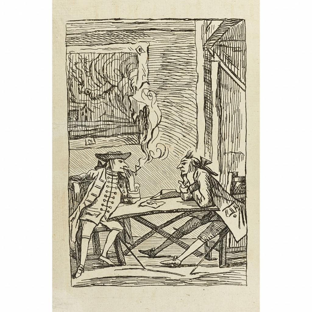 Alvaro fuma la pipa, illustrazione di C. Pierre Marillier (Jean-Michel Moreau incisore) per Le diable amoreux di Cazotte, 1772