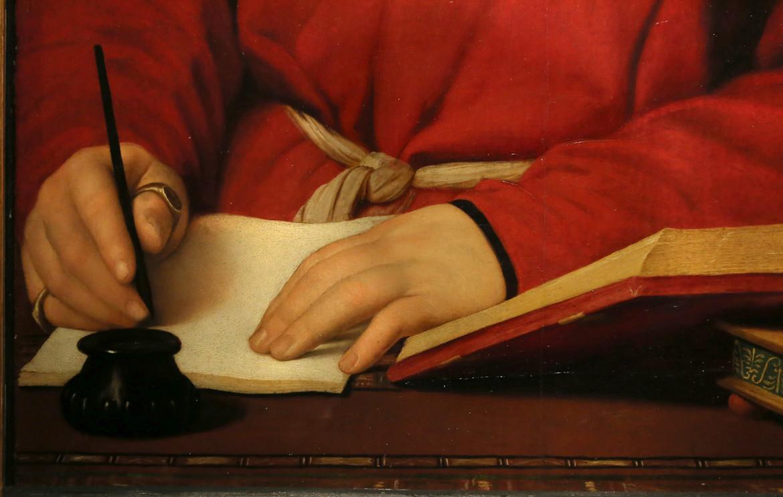 Raffaello, Ritratto di Tommaso Fedra Inghirami, part., 1511-1512, Firenze, Galleria palatina