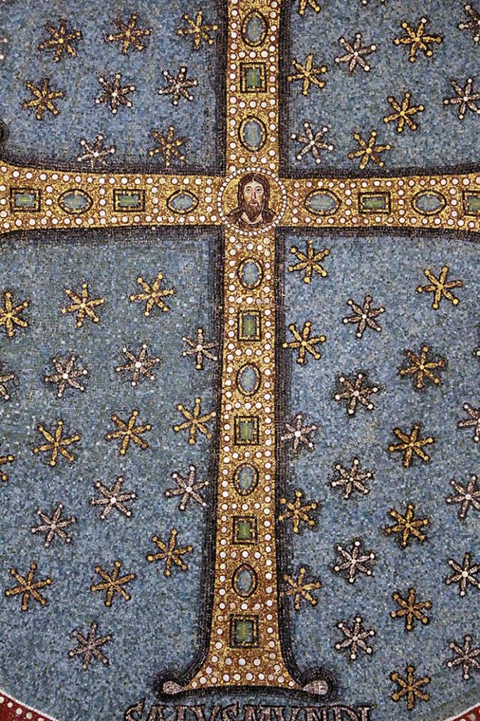 Ravenna, Sant'Apollinare in Classe, mosaico  del catino absidale, particolare della croce gemmata, VI secolo