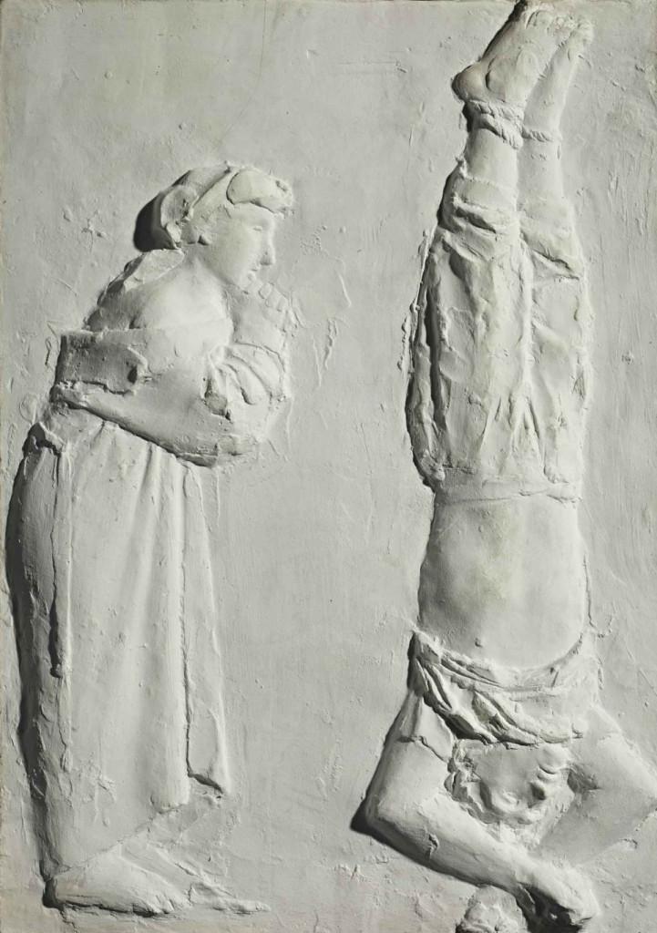 Giacomo Manzù,  La morte del partigiano, bassorilievo in gesso, Bergamo, Gamec
