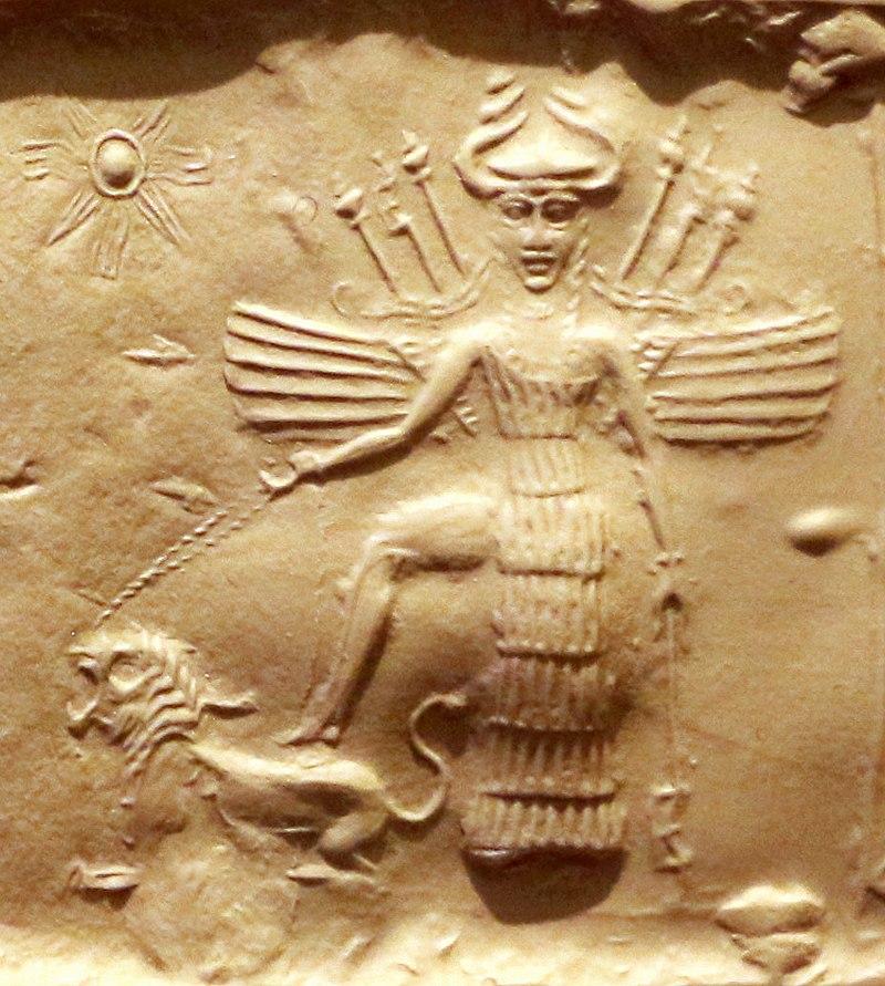 La dea Ishtar su un sigillo dell'epoca dell'Impero accadico, 2350-2150 aC