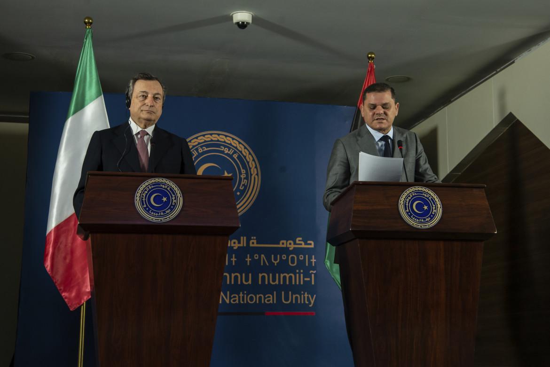 Il premier italiano Draghi e quello libico Dabaiba